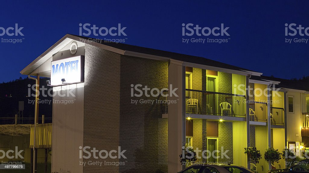 Motel Lit up at night, Quebec, Canada stock photo
