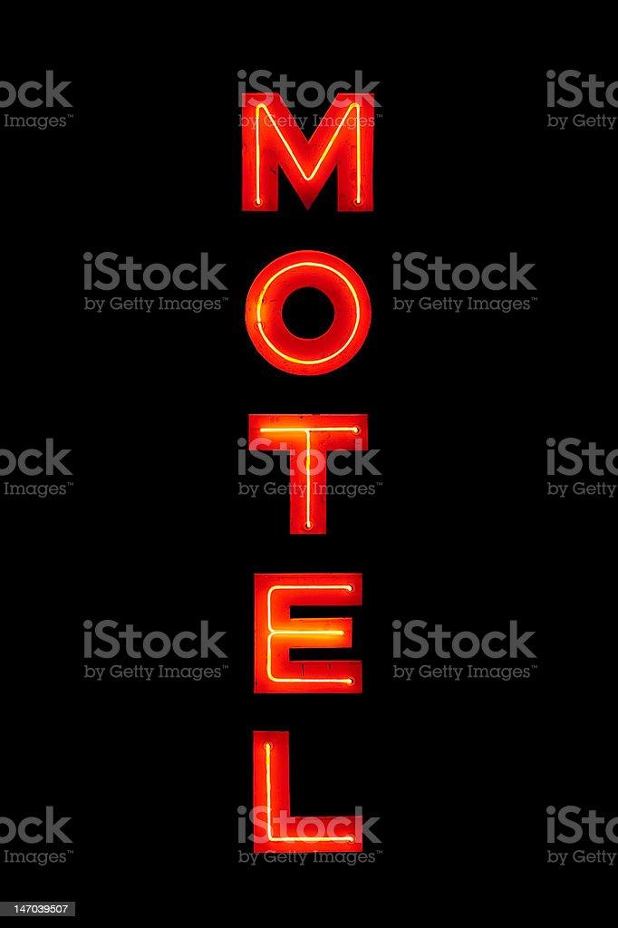 Motel neon sign isolated on black stock photo
