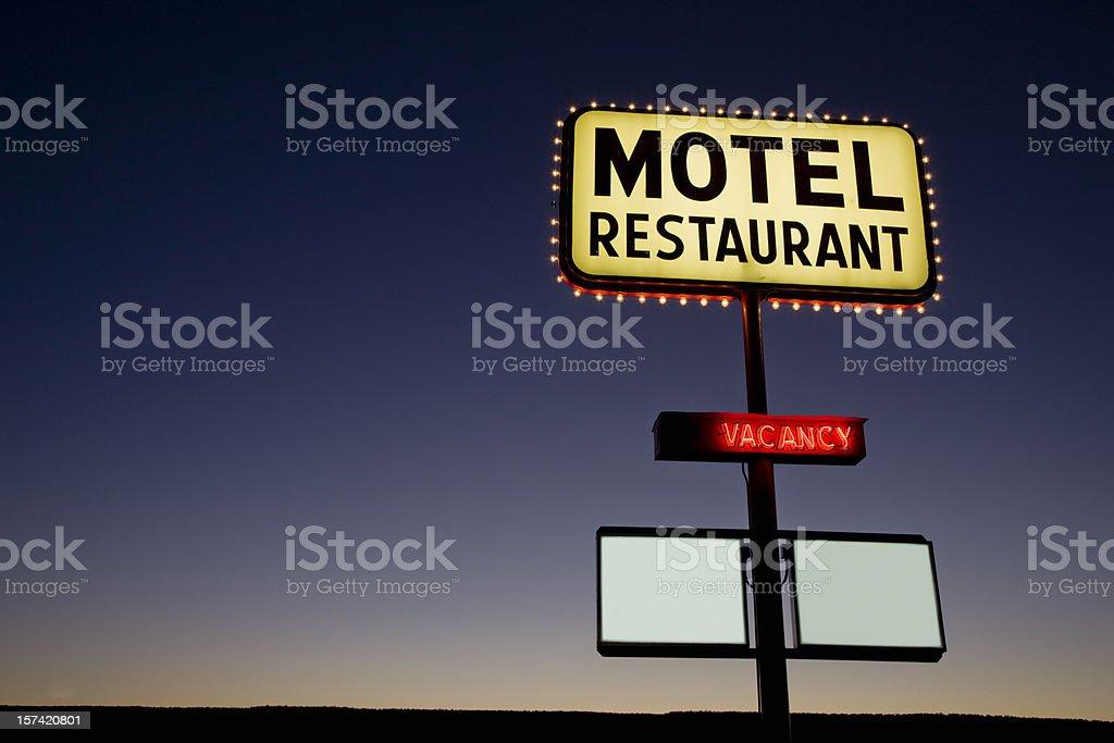 Motel Neon Sign Twilight USA stock photo