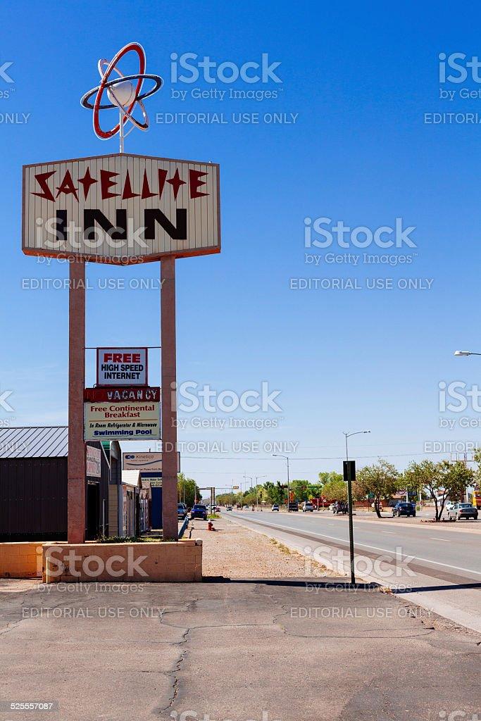 Motel Satellite Inn signboard old style in Alamogordo stock photo