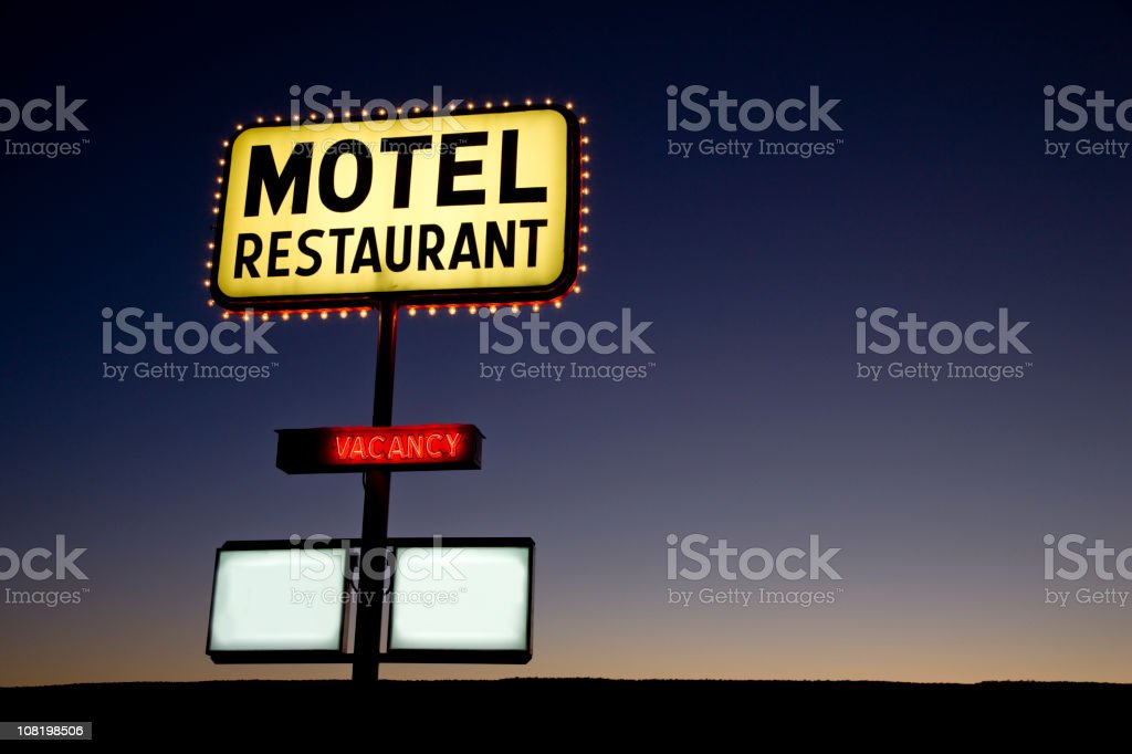 Motel Sign at Twilight USA royalty-free stock photo