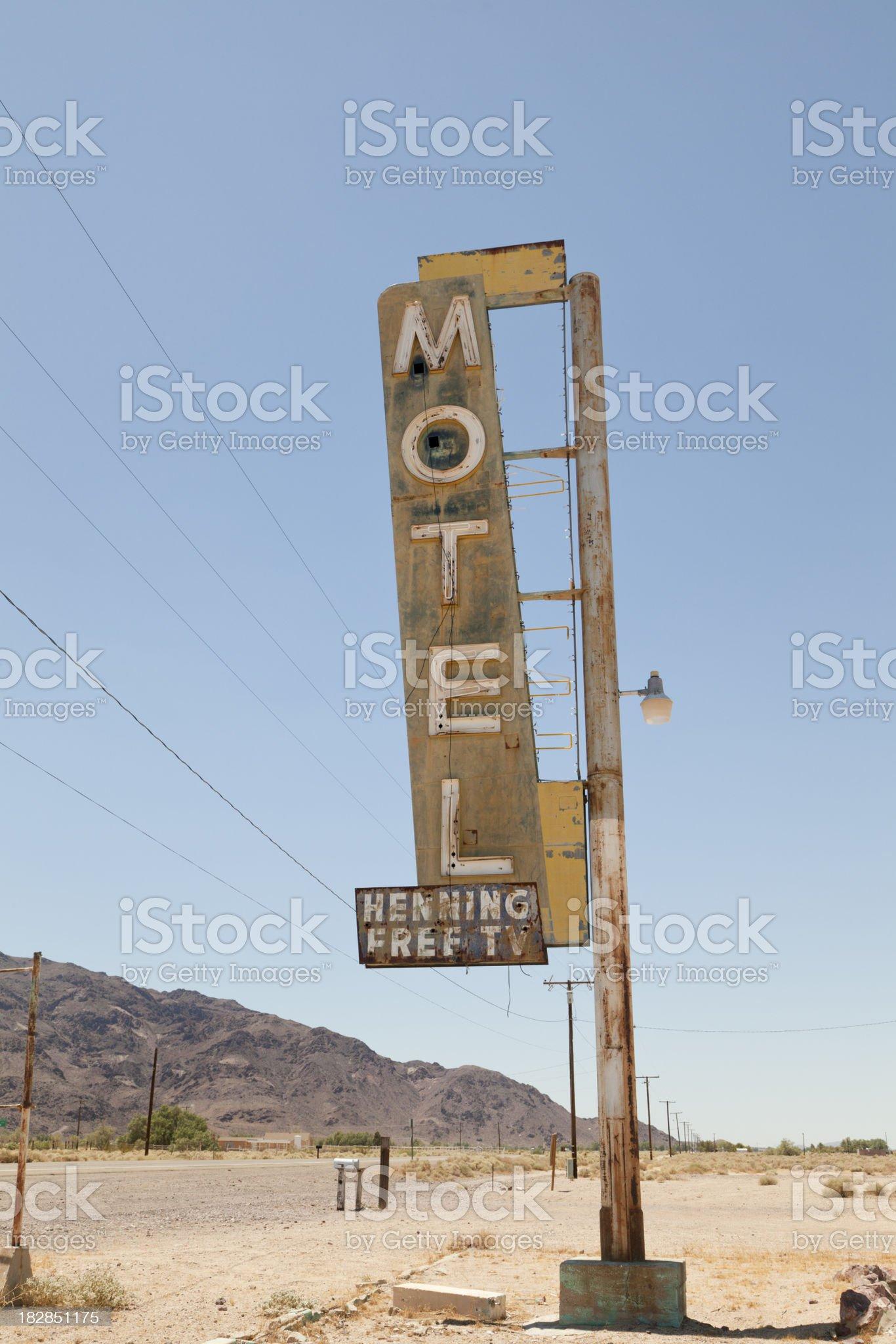 Motel Sign on Route 66, Desert royalty-free stock photo
