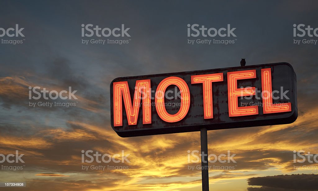 Motel sign sunset royalty-free stock photo