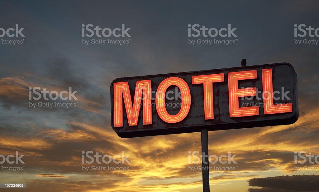 Motel sign sunset stock photo