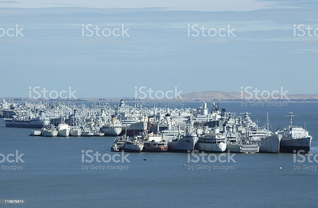 mothball fleet of WWII military ships royalty-free stock photo