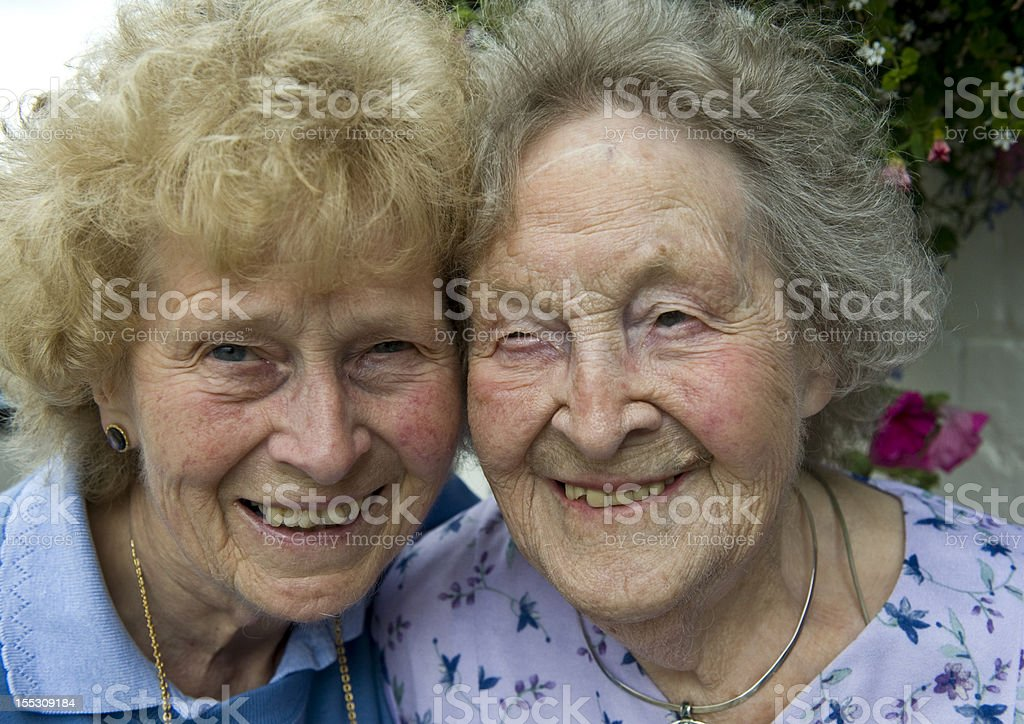 Mother 100 years old and daughter 75.. stock photo