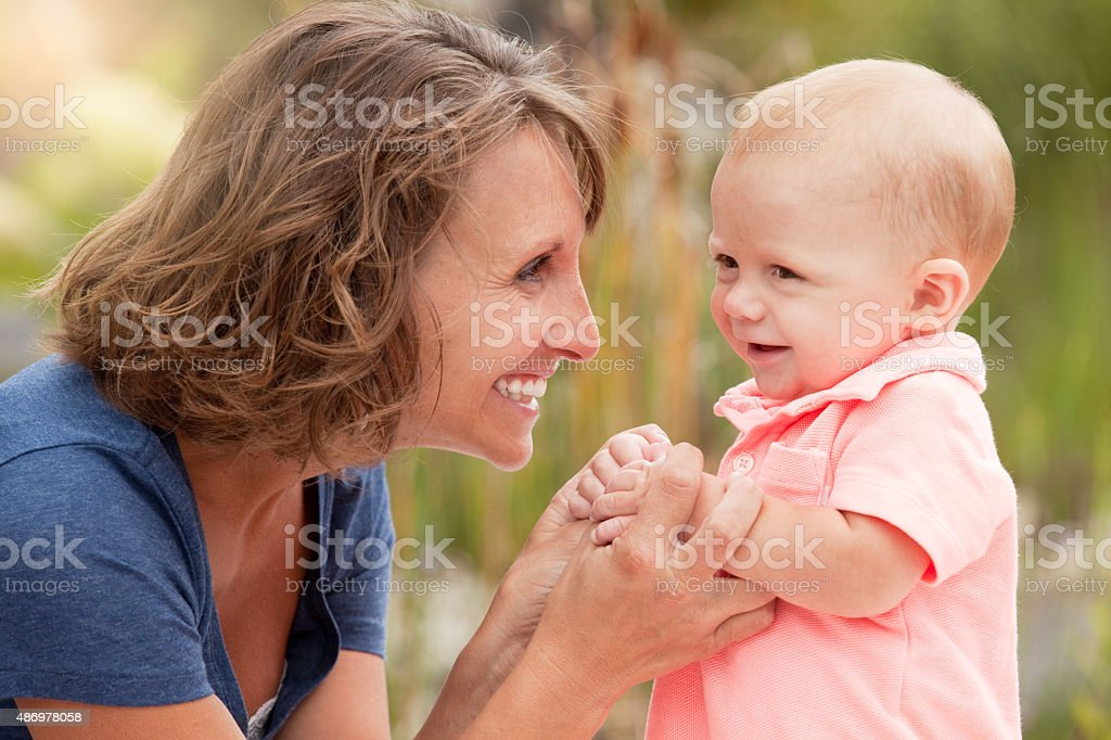 Mother And 7 Month Old Son stock photo