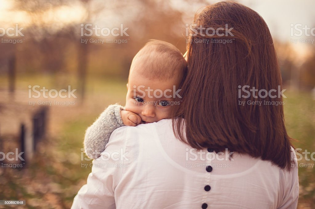 Mother and a baby stock photo