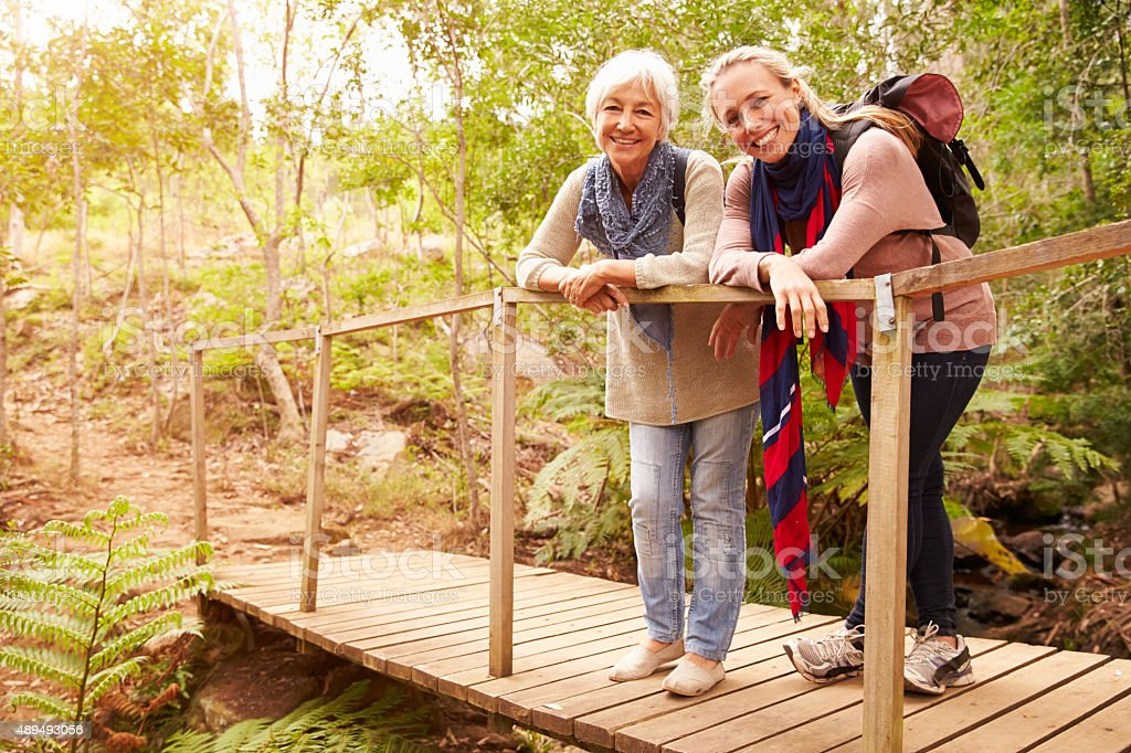 Mother and adult daughter on a bridge in a forest stock photo
