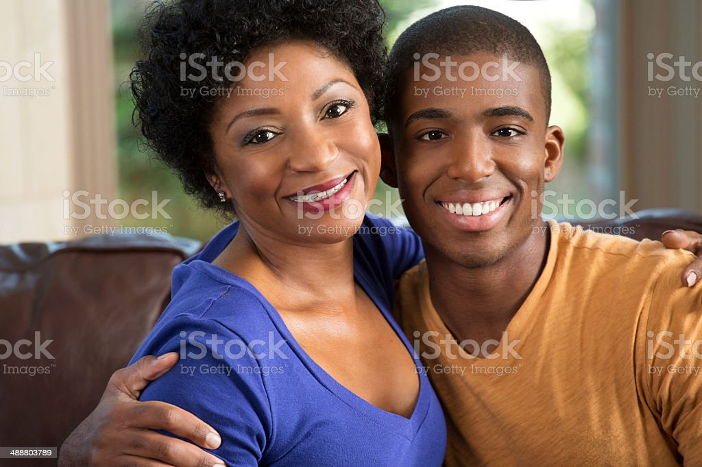 Mother and adult son stock photo