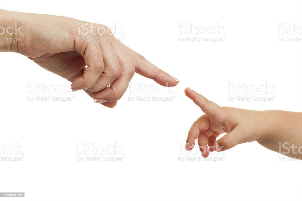 Mother and babies hands pointing with finger. royalty-free stock photo