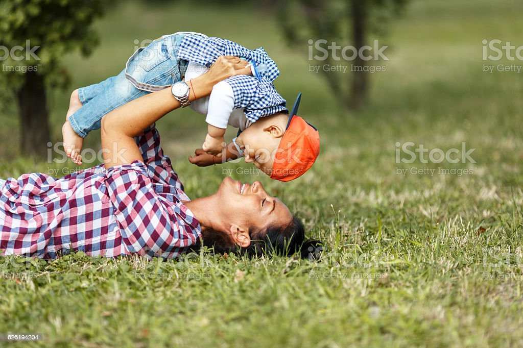 Mother and baby boy stock photo