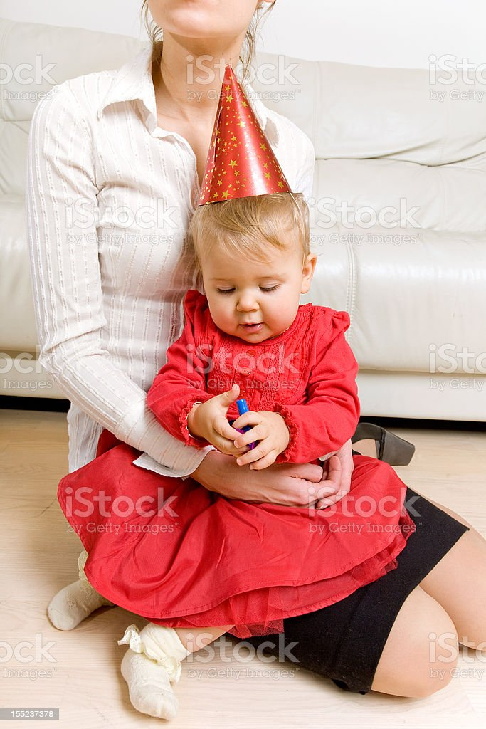 mother and baby celebrating royalty-free stock photo