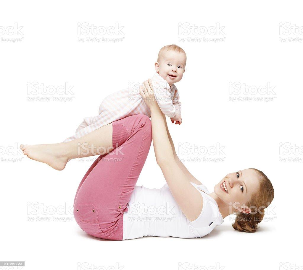 mother and baby gymnastics, yoga exercises isolated stock photo