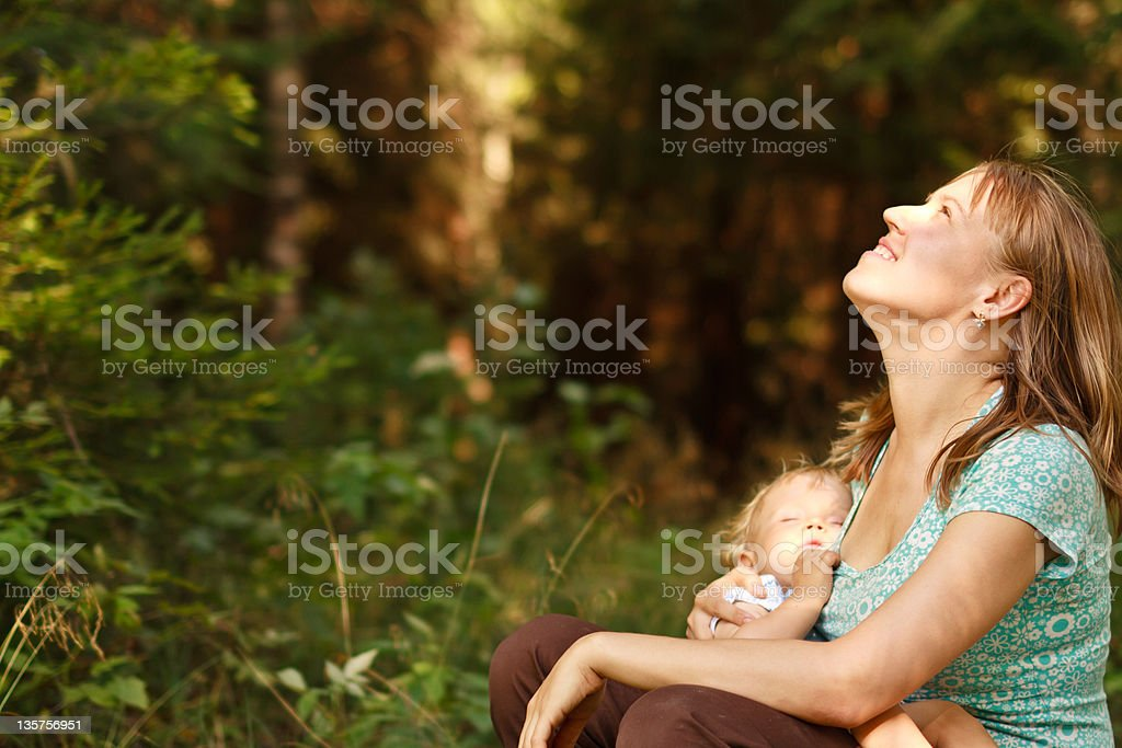 Mother and baby in nature royalty-free stock photo