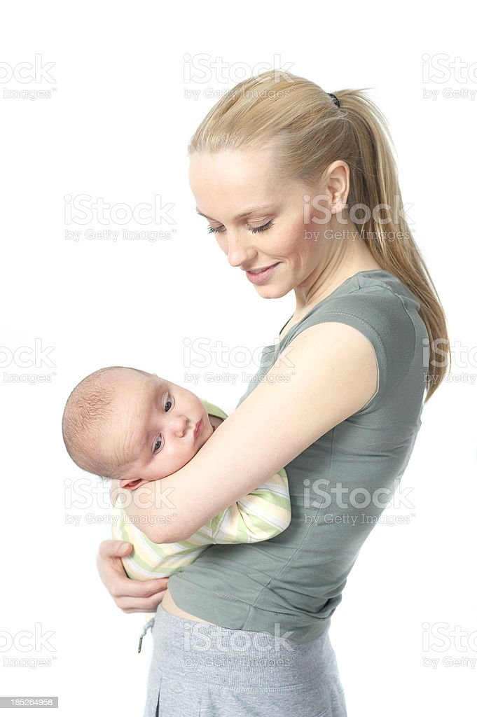 Mother and Baby in sport dress stock photo