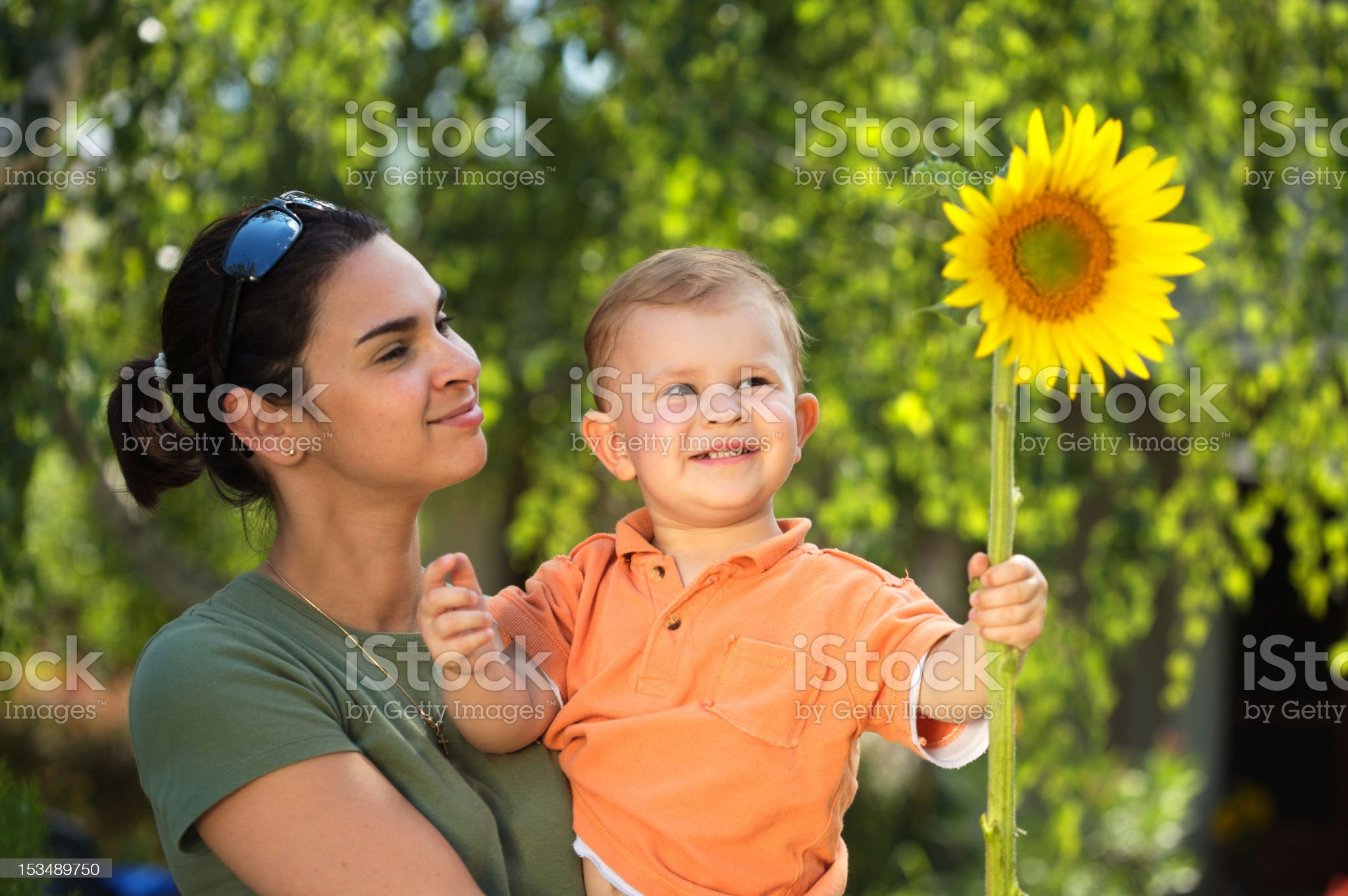 Mother and baby in summer royalty-free stock photo