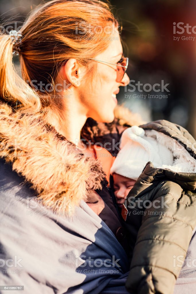 Mother And baby  In the Park stock photo
