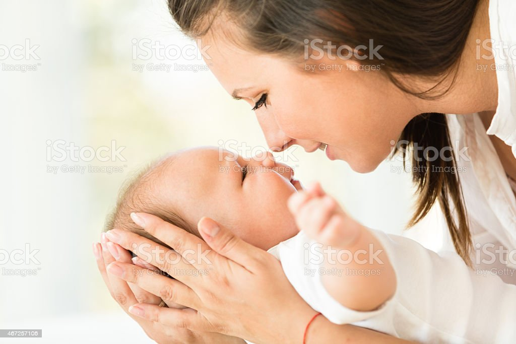 Mother and baby love stock photo