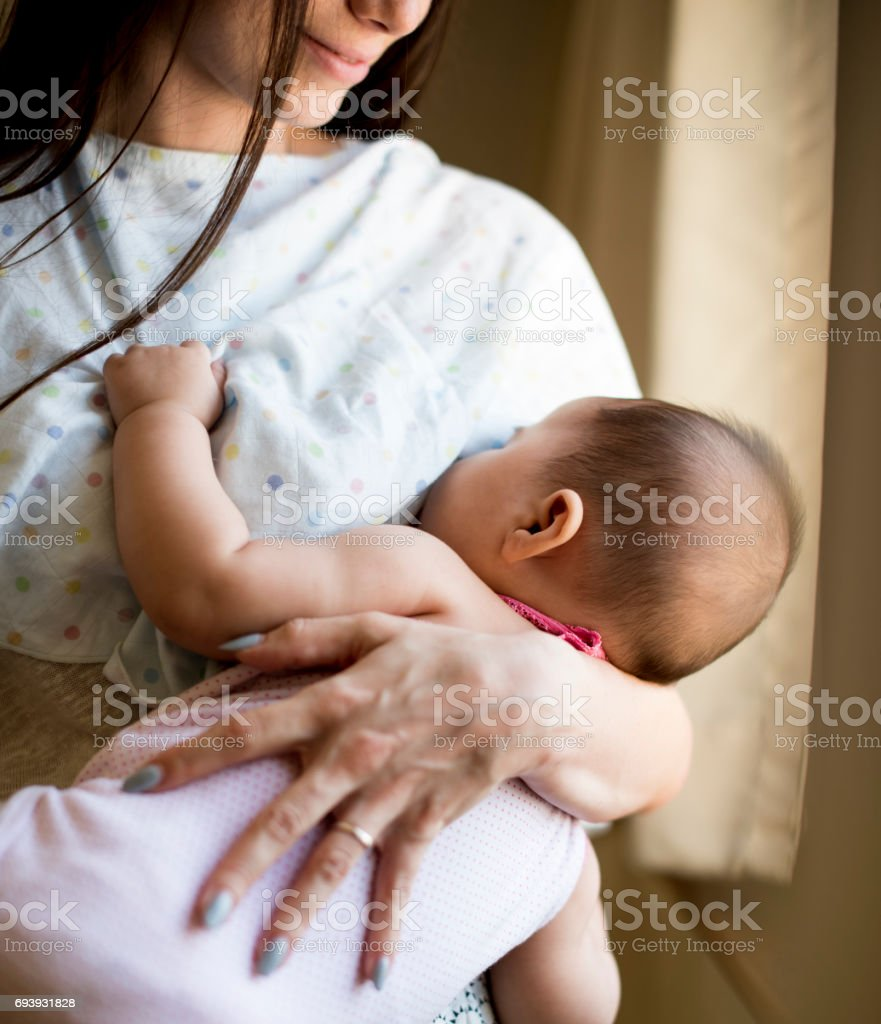 Mother and Baby Newborn Love Emotional Family stock photo