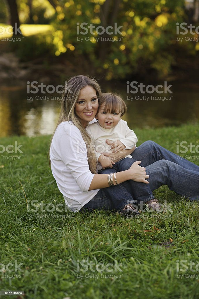 Mother And Baby Outside royalty-free stock photo