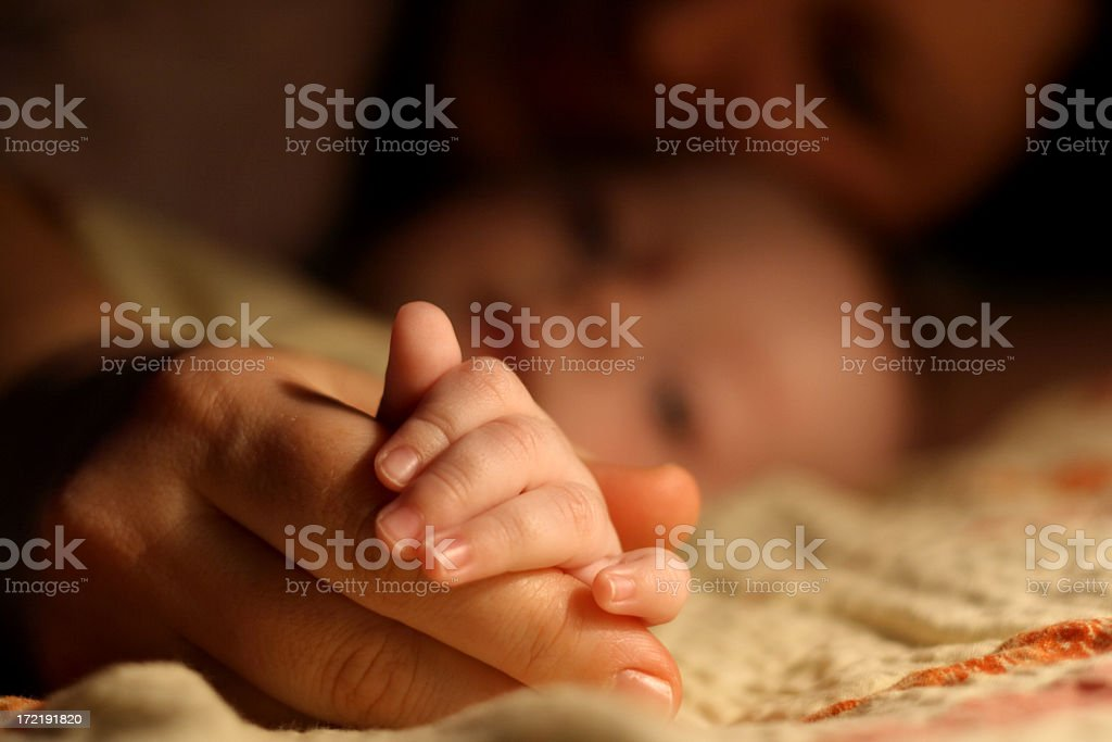 Mother and baby sleeping royalty-free stock photo