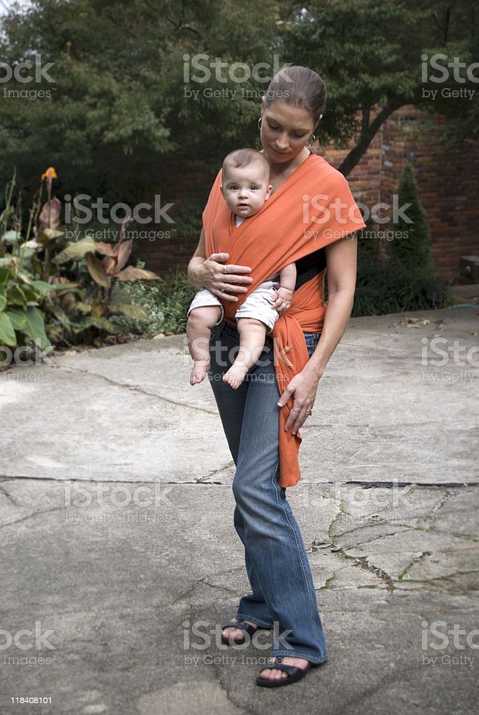 Mother and Baby Sling / Carrier stock photo