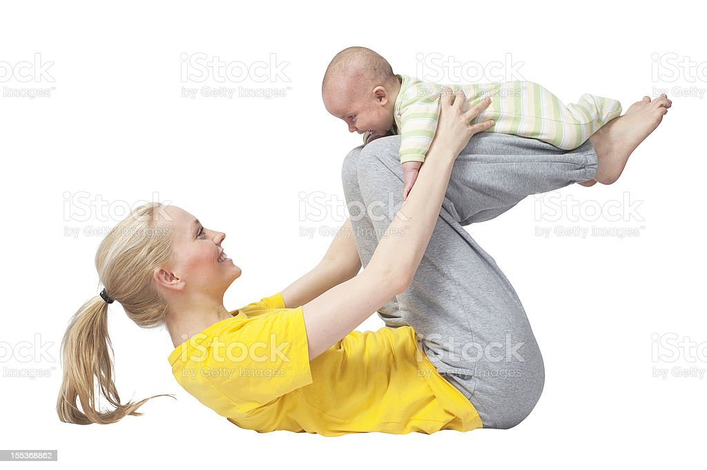 Mother and Baby yoga on torso white background stock photo
