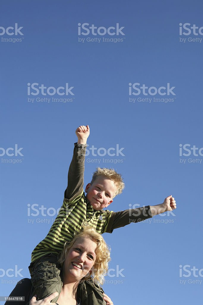 Mother And Cheerful Son royalty-free stock photo
