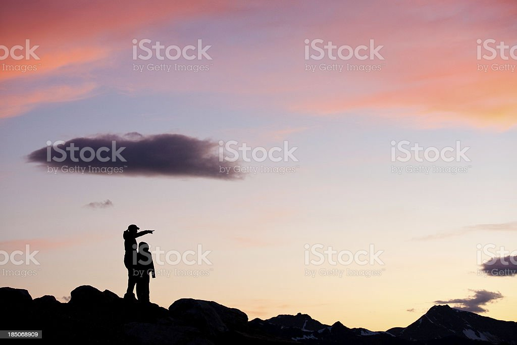 Mother and Child Admiring Mountain View royalty-free stock photo