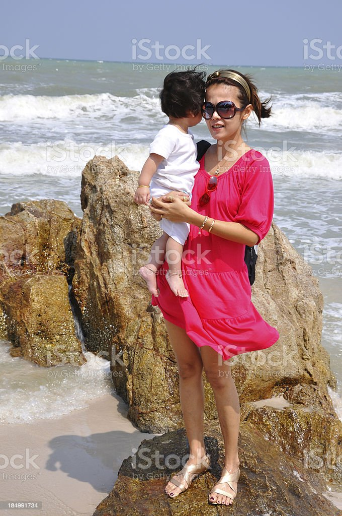 Mother and child at the beach royalty-free stock photo