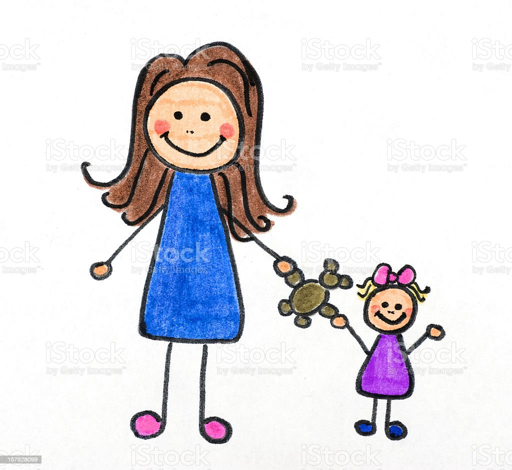 mother and child drawing royalty-free stock photo