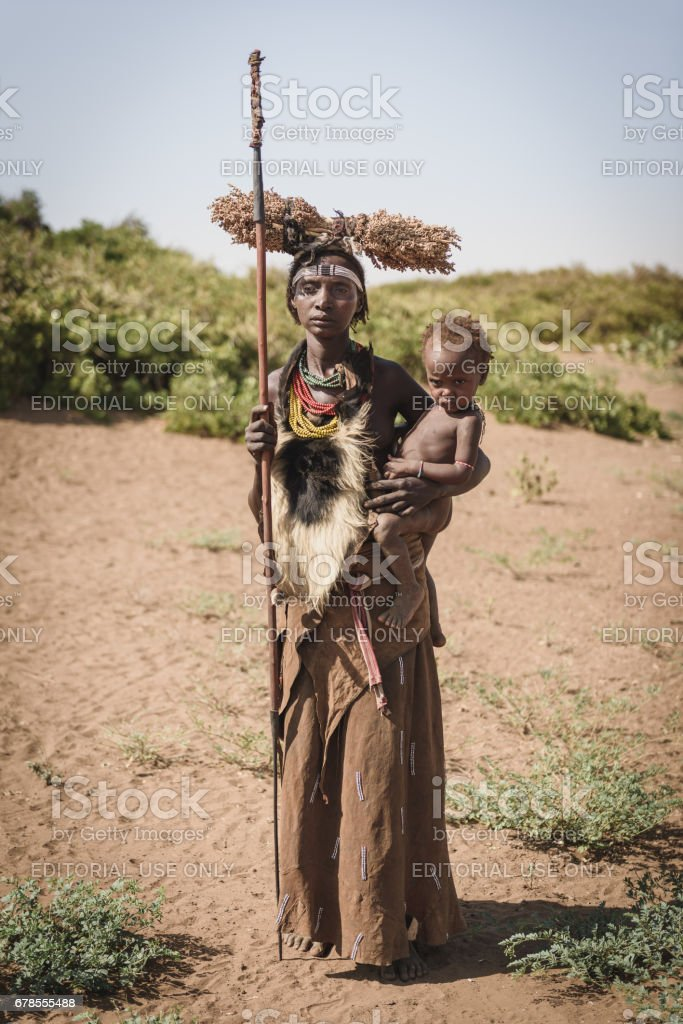 Mother and child from Dassanech tribe stock photo