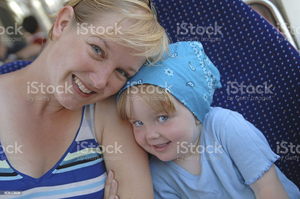 mother and child in a tramway royalty-free stock photo