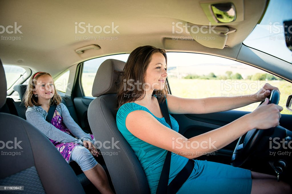 Mother and child in car stock photo