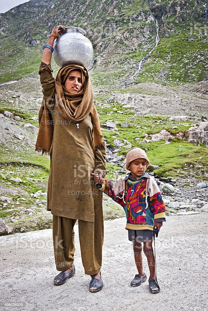 Mother and Child in Ladakh India Asia royalty-free stock photo
