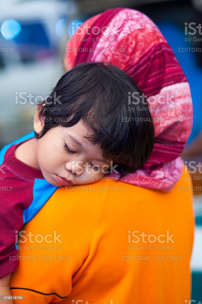 Mother and Child in Langkawi, Malaysia stock photo