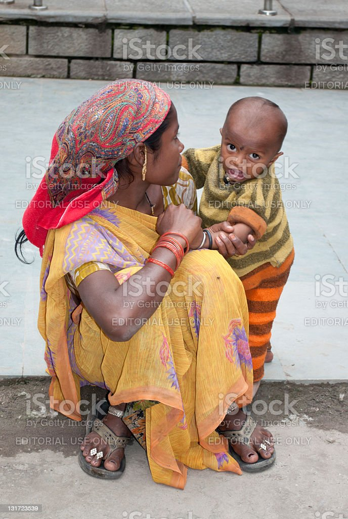 Mother and Child in Manali India stock photo