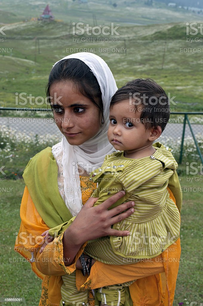 Mother and Child in Northern India stock photo