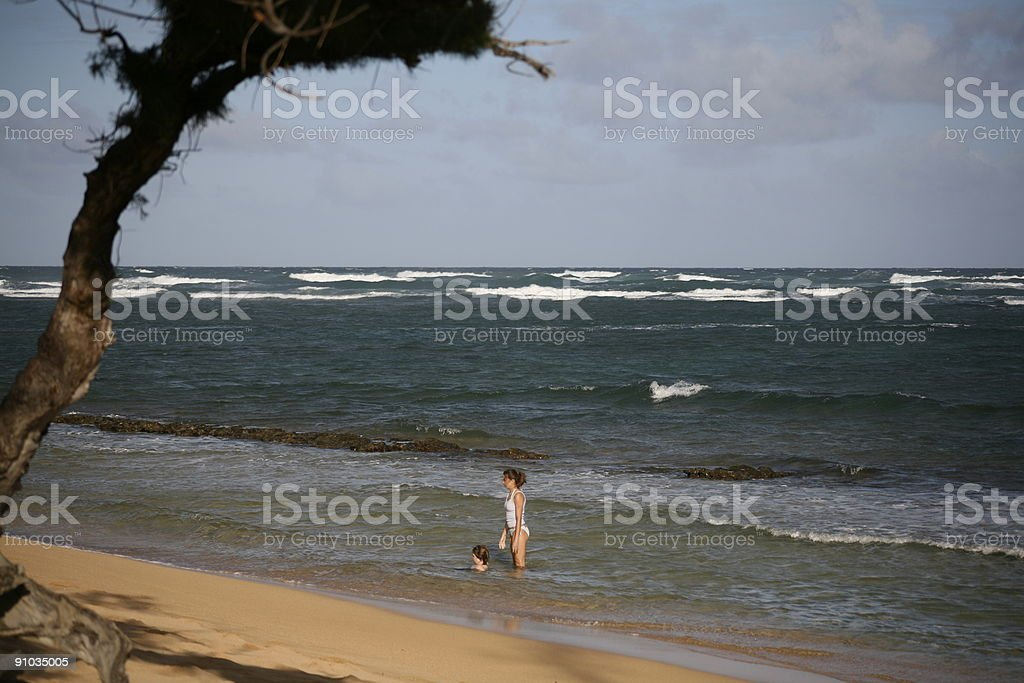 Mother and child in ocean pool royalty-free stock photo