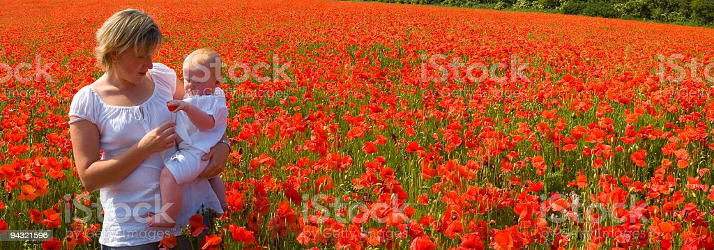 Mother and child in poppy field royalty-free stock photo