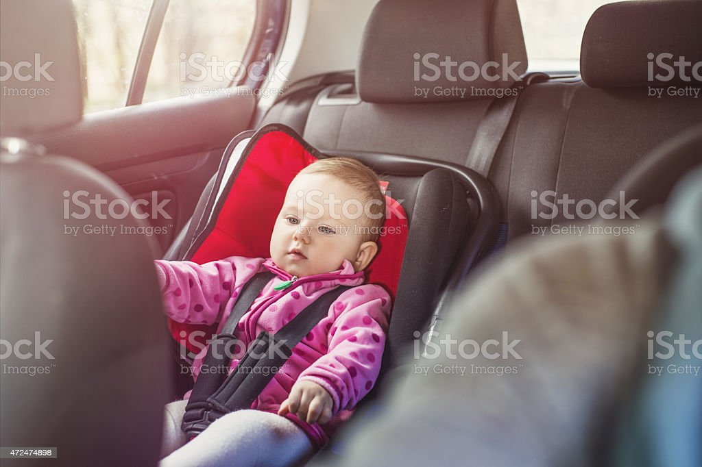 Mother and child in the car stock photo