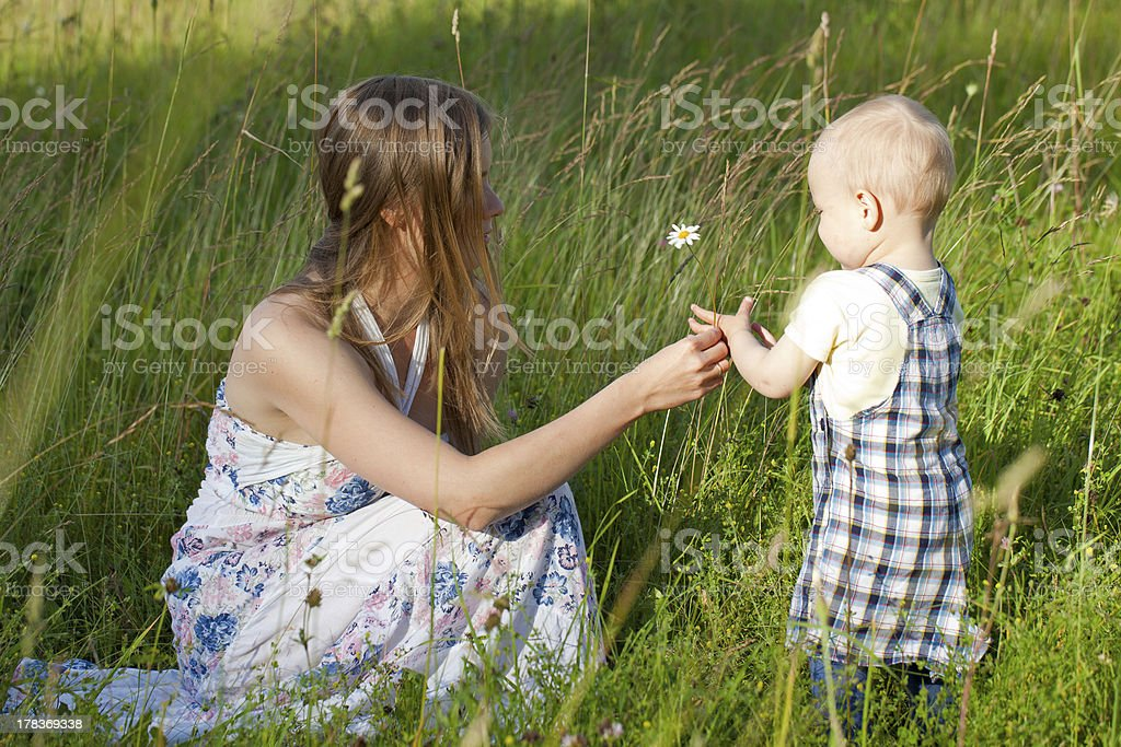 mother and child on summer field royalty-free stock photo