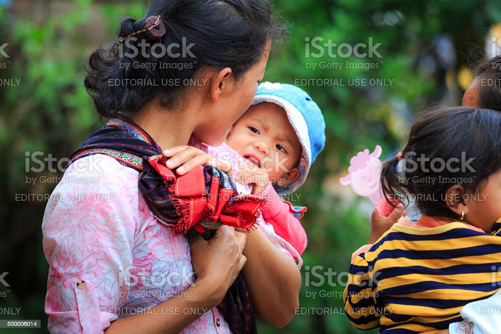 Mother and children ethnic minority highland areas stock photo