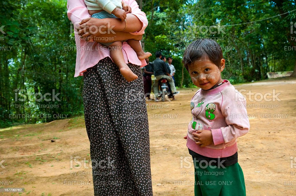 Mother and children in Myanmar stock photo
