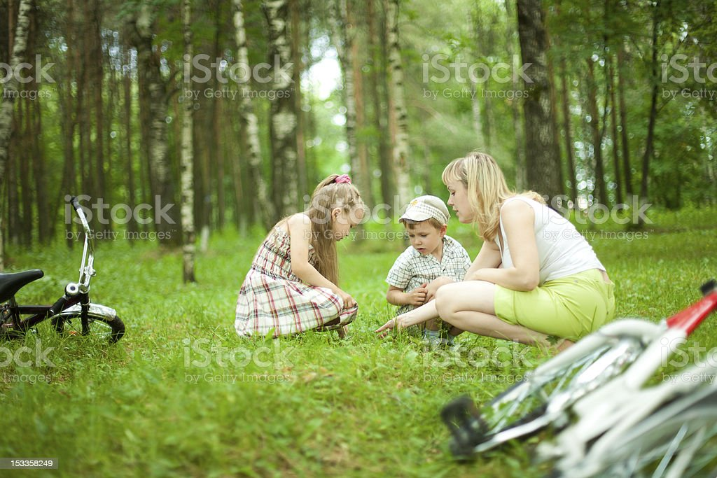 Mother and children in forest royalty-free stock photo