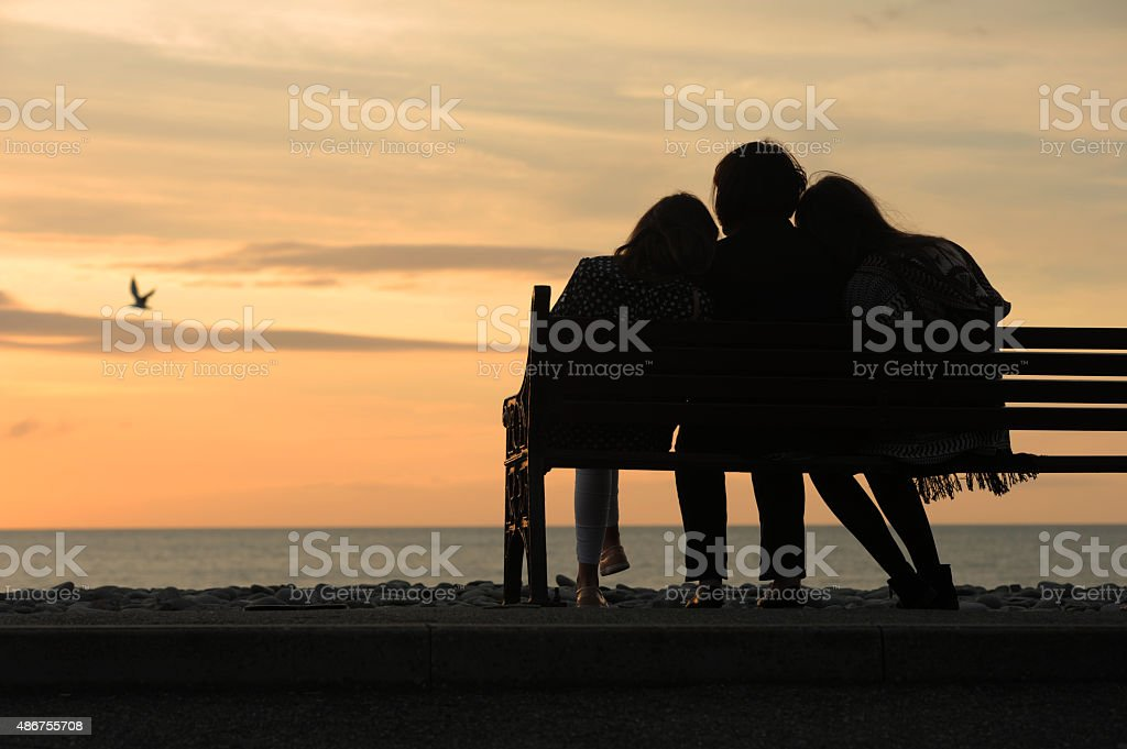 Mother and Children (Sea Front) stock photo