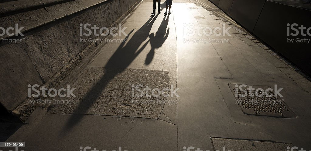 Mother and child's shadows royalty-free stock photo