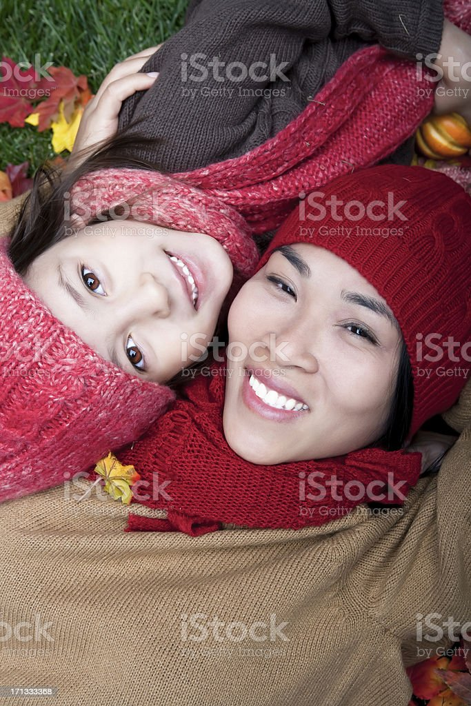 Mother and daugher autumn portrait royalty-free stock photo