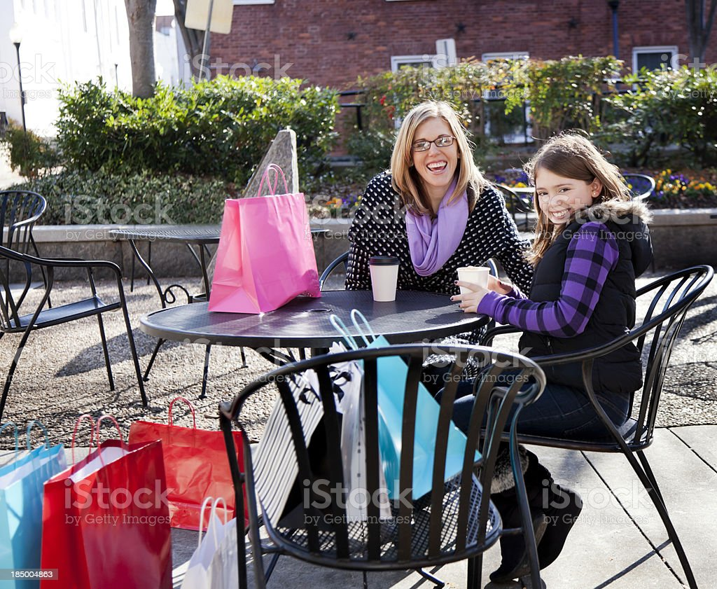 Mother and Daughter at a Cafe royalty-free stock photo